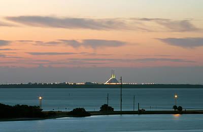 Dawn At The Sunshine Skyway Bridge Viewed From Tierra Verde Florida Print by Mal Bray
