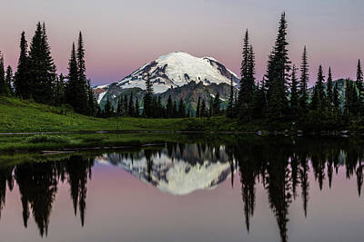 Photograph - Mount Rainier Alpenglow At Tipsoo Lake by Pierre Leclerc Photography