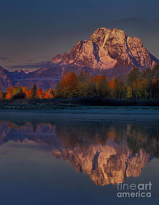 Photograph - Dawn Autumn Mount Moran Oxbow Bend Grand Tetons National  by Dave Welling