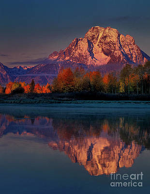 Photograph - Dawn Autumn Mount Moran Oxbow Bend Grand Tetons National Park  by Dave Welling