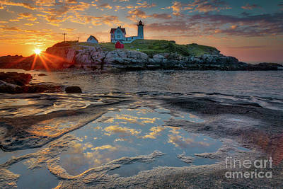 Photograph - Dawn Breaking At Nubble by Jerry Fornarotto