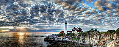 Photograph - Dawn Breaks At Portland Head Light Pano by Jean Hutchison