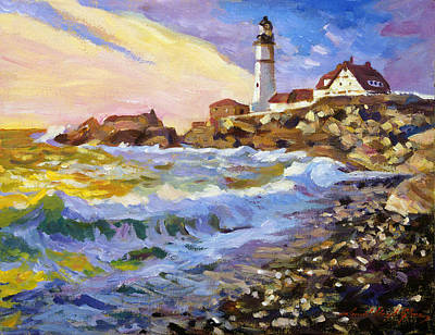 Maine Painting - Dawn Breaks Cape Elizabeth Plein Air by David Lloyd Glover