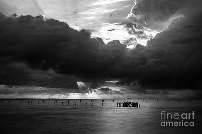 Photograph - Dawn Cloudscape In Monochrome by Peta Thames