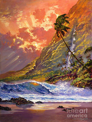 Sandy Beaches Painting - Dawn In Oahu by David Lloyd Glover