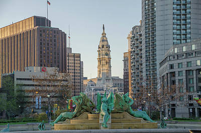 Photograph - Dawn In Philadelphia - Swann Fountain by Bill Cannon