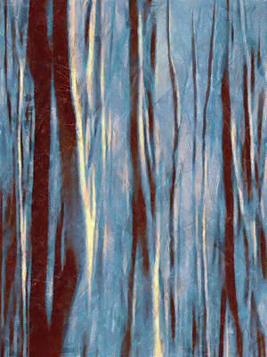 Painting - Dawn In The Winter Forest - Landscape Mood Lighting by Menega Sabidussi