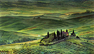 Watercolor Painting - Dawn In Tuscany Italy by Russ Harris