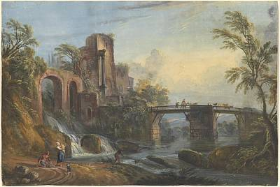 Old Buildings Drawing - Dawn Landscape With Classical Ruins by Jean-baptiste Lallemand