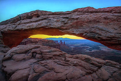 Photograph - Dawn Light Under The Mesa Arch - Canyonlands Utah by Gregory Ballos