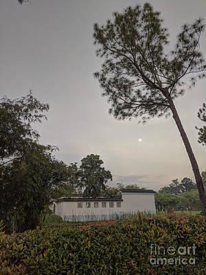 Photograph - Dawn Moon Over Chinese Garden Singapore by Nicholas Braman