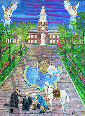 Independence Hall Painting - Dawn Of A New Nation by Mike De Lorenzo