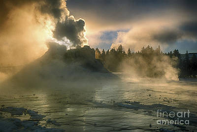 Dawn On Castle Geyser Art Print by Sandra Bronstein