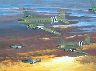 C-47 Painting - Dawn On D-day by Dennis D Vebert