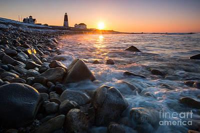 Dawn On Point Judith - Sunrise Over New England Lighthouse Art Print by JG Coleman