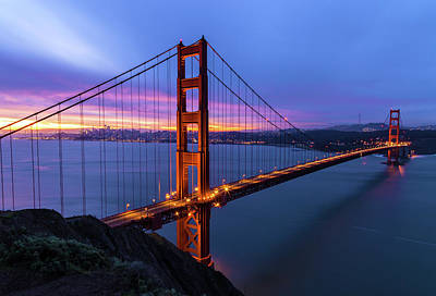 Photograph - Dawn Over Golden Gate by Jonathan Nguyen