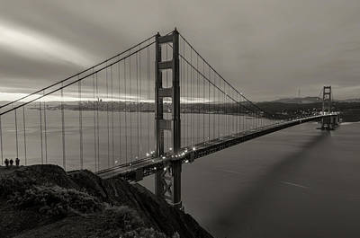 Photograph - Dawn Over Golden Gate - Sepia by Jonathan Nguyen