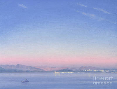 Water Vessels Painting - Dawn Over Lake Piccola by Derek Hare