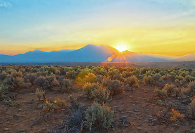 Photograph - Dawn Over Magic Taos Mountain by Charles Muhle