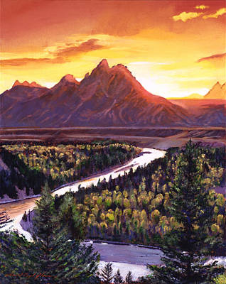 Reptiles Royalty-Free and Rights-Managed Images - Dawn Over The Grand Tetons by David Lloyd Glover