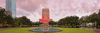 Photograph - Dawn Panorama Of Houston City Hall At Hermann Square - Downtown Houston Harris County by Silvio Ligutti