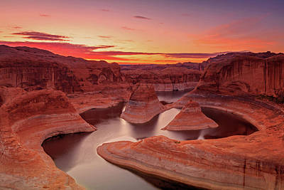 Art Print featuring the photograph Dawn Sky Above Reflection Canyon. by Johnny Adolphson