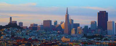 Abstract Skyline Rights Managed Images - Dawn Skyline San Francisco Painting Royalty-Free Image by Barbara Snyder