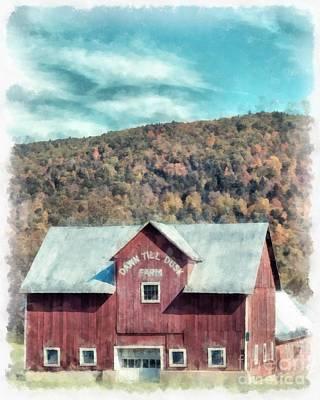 Dawn Till Dusk Farm Watercolor Art Print by Edward Fielding