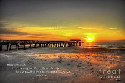 Photograph - Dawn Tybee Pier John 14 Tybee Island Sunrise Scripture Art by Reid Callaway