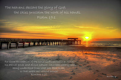 Photograph - Dawn Tybee Pier Psalm 19 Tybee Island Sunrise Scripture Art by Reid Callaway