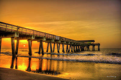 Photograph - Dawn Under Tybee Island Pier Sunrise Reflections Art by Reid Callaway
