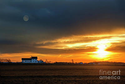 Photograph - Dawn With Amish School House by David Arment