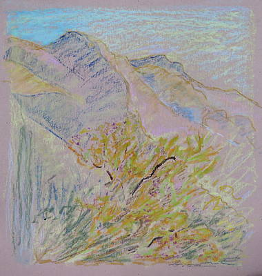 Impressionistic Landscape Drawing - Dawning Mountains by Bonnie See