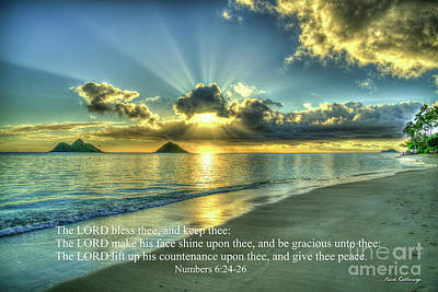 Photograph - Dawns Early Light Lanikai Beach Sunrise Hawaii Collection Scripture Art by Reid Callaway