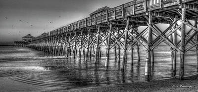 Photograph - Dawns Reflection Folly Beach Pier Charleston South Carolina by Reid Callaway