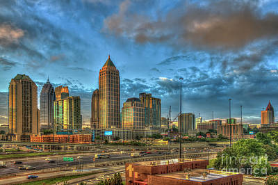 Photograph - Dawns Reflections Midtown Atlanta Sunrise Cityscape Art by Reid Callaway