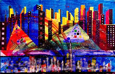 Daytime Mixed Media - Day And Night Cityscape by David Raderstorf