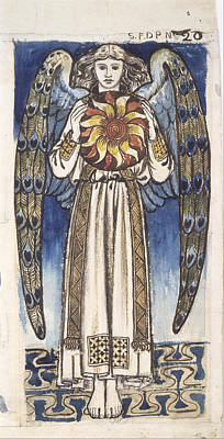 Angel Blues Drawing - Day. Angel Holding A Sun by William Morris