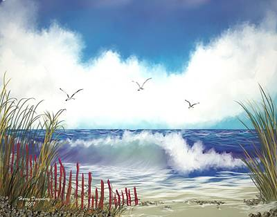 Day At The Beach Art Print by Harry Dusenberg