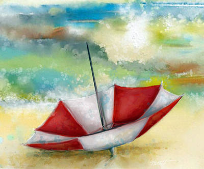 Cloudy Day Painting - Day At The Beach by Mark Tonelli