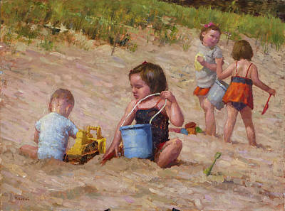 Wall Art - Painting - Day At The Beach by Miguel Malagon