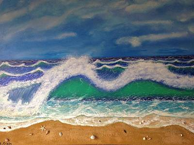 Beach Landscape Mixed Media - Day At The Beach by R Giese Originals