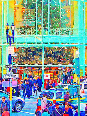 Stockton Digital Art - Day Before Christmas At Neiman Marcus . Photoart by Wingsdomain Art and Photography
