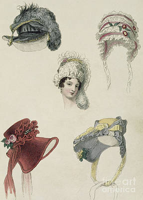 Woman In Hat Drawing - Day Bonnets by English School