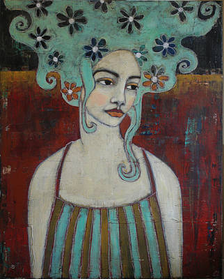 Portrait Mixed Media Painting - Day Dreamer by Jane Spakowsky