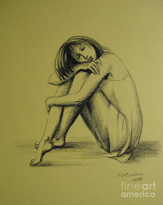 Art Print featuring the drawing Day Dreaming by Elena Oleniuc