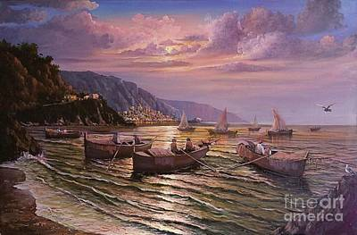 Painting - Day Ends On The Amalfi Coast by Rosario Piazza