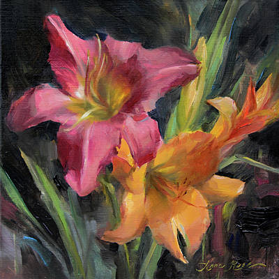 Floral Wall Art - Painting - Day Lilies by Anna Rose Bain