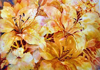 Day-lilies Art Print by Nancy Newman