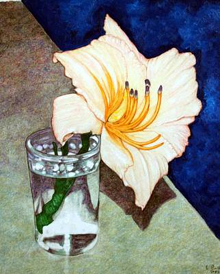 Day Lily In A Water Glass Art Print by Edward Ruth